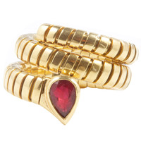 Bulgari Tubogas Ruby Gold Ring