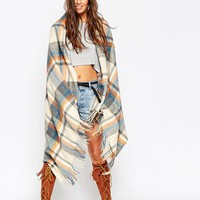 ASOS | ASOS Oversized Scarf In Orange & Blues Check With Tassels at ASOS