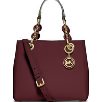 Cynthia Small North-South Satchel Bag, Merlot - MICHAEL Michael Kors