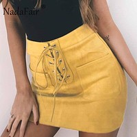 Nadafair Lace-Up Pockets Yellow Pink Casual Women Suede Skirts High Waist Tube Bodycon Mini Skirts