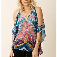 Twelfth Street by Cynthia Vincent Leather Strap Cold Shoulder Top