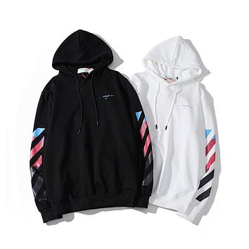 OFF-White new tops, classic color gradient arrow pattern men's and women's hoodies