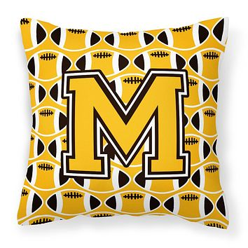 Letter M Football Black, Old Gold and White Fabric Decorative Pillow CJ1080-MPW1414