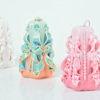 Unusual handmade beautiful carved lace paraffin candle of pink color gift ideas
