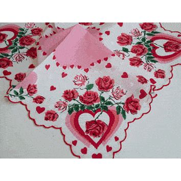 Pink Hearts and Red Roses Valentine Vintage Style Cotton Hankie