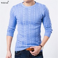 WZZAE 2017 Winter Sweater Men O-neck Casual Knit Jumpers Sweaters Mens Long Sleeve Pullovers Famous Brand Sweater Men Stylish