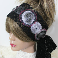 Silver headband, Black lace headband, Unique hairband, Black gray hairband, Silver black headband, Spiral headband, Mother's day gifts