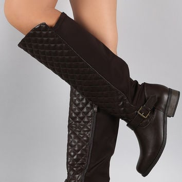 Quilted Stretchy Knee High Riding Boots