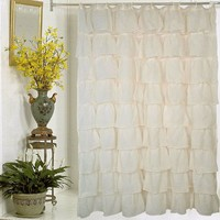Carnation Home Fashions Carmen Crushed Voile Fabric Shower Curtain, Ivory, 70 in x 72 in.
