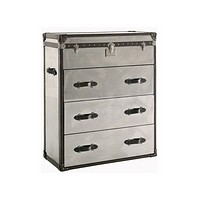 Mirrored Steel Chest of Drawers   Andrew Martin Steel/Leather