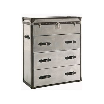 Mirrored Steel Chest of Drawers | Andrew Martin Steel/Leather
