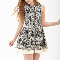 FOREVER 21 Elegant Abstract Fit & Flare Dress Taupe/Black