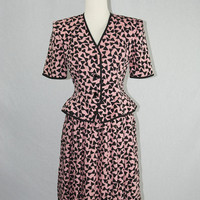 Vintage 80s Silk Peplum Blouse and Skirt Set by Capriccio Pink and Black Novelty Bow Print Dress Suit