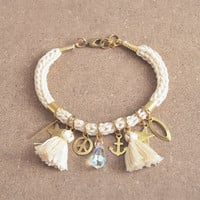 Cream bracelet with tassel charms and crystal charm, charm bracelet, hippie bracelet