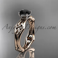 14kt rose gold celtic trinity ring, triquetra ring, engagement ring with a Black Diamond center stone CT7356