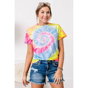 Peace, Love & Tie Dye Multicolor Top | Dayglo Spiral