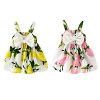 Baby Girls Summer Dress Infant Bow Sleeveless Toddler Girls Birthday Party Dresses Baby Clothing Vestido