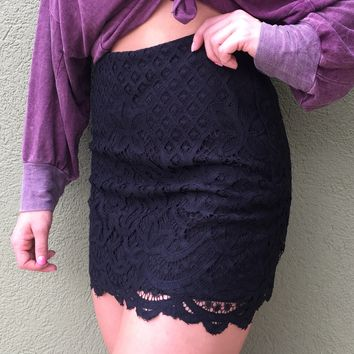 Free People Lovely In Lace Skirt- Black