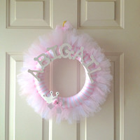 Princess Tutu Wreath- Pink and White- Tulle Wreath- Birthday, Baby Shower, Room Decoration