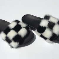 Check me out mink fur slides