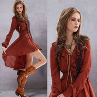 Burgundy Lace-Up Ruffled Elastic Waist Asymmetric Hem Dress
