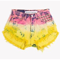Nikkie Ombre Studded Hand Dyed Vintage Shorts