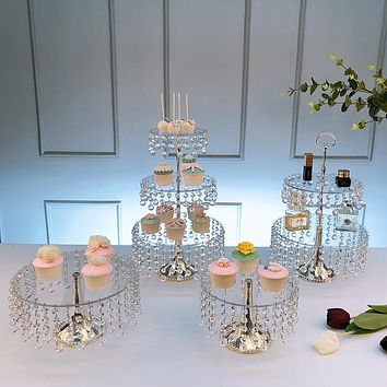 3-Set Cake Stands Round Cupcake Stands Dessert Display Stand with Pendants and Beads, Silver
