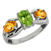 2 Carat Peridot and Yellow Citrine Oval Ring .925 Sterling Silver Rhodium Finish