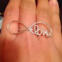 infinity ring, love ring, love word ring, infinity love ring, word ring, ring, handmade infinity ring