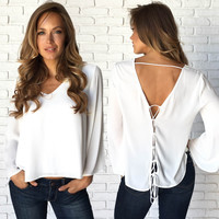 Clarity Crossback Blouse In White