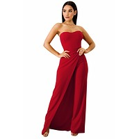 Asymmetric Split Leg Strapless Jumpsuit