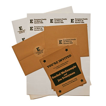 24 Blank Printable Kraft Invitations Kit with Envelopes, Mailing Labels and Return Envelope Seals