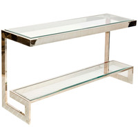 2 Tier Low Console with Beveled Glass Shelves | Nickel