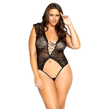 Sexy This Is Real Plus Size Cap Sleeve Lace-Up Crotchless Teddy