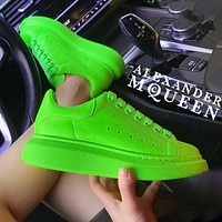 Wearwinds Alexander McQueen MCQ Fashion Women Men Sneakers Macaron Shoes Fluorescent green