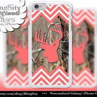 Coral Chevrons Camo Iphone 6 Case Buck Head Antlers iPhone 5C 6 Plus Case iPhone 5s Ipod 4 5 Touch case Deer Real Tree Zig Zag