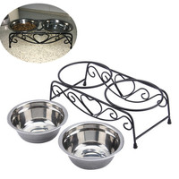 Double Stainless Steel Dog Bowls With Stand Feeder Travel Cat Anti Slip Food Water Bowls Eating Dish
