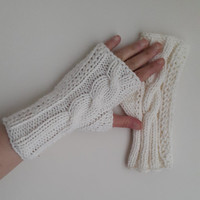 İvory,Knitted gloves, hand knitted, knitted, gloves