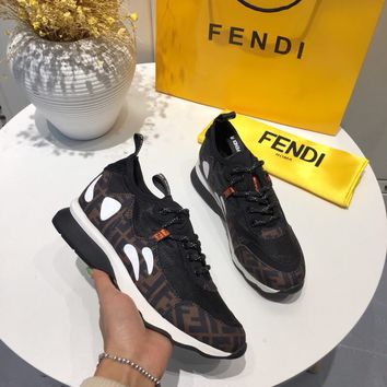 FENDI FF leather and mesh sneakers