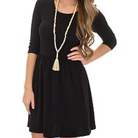 French Terry Dress, Black