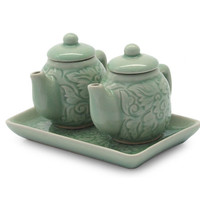 Novica 2 Piece Inseparable Thai Ceramic Condiment Set