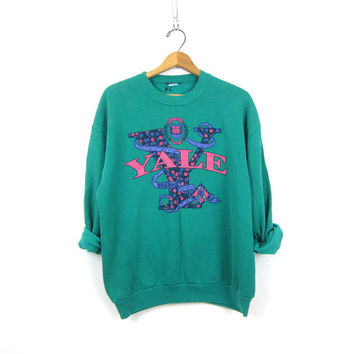 Vintage 80s Yale University Bulldogs sweatshirt slouchy Turquoise Green cotton blend Preppy sweatshirt Women's size Large XL