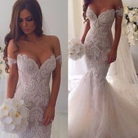 Amazing New Wedding Dress Sweetheart Neck Off the Shoulder Mermaid Chapel Train Tulle Bride Dresses Robe de mariage