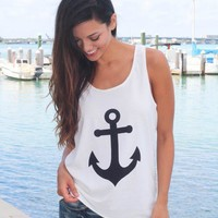 White Racerback Anchor Tank Top