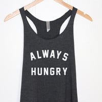 Always Hungry Tank Top in Heather Black-Funny Quotes Shirt-Cute Tee T-shirt Tshirt for Girls-Graphic Shirt-Food Shirt Tops-Cup of tee