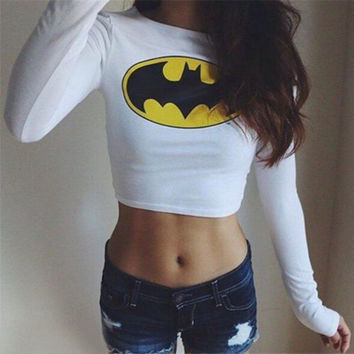Sexy Women's Batman Long Sleeve Crop Top