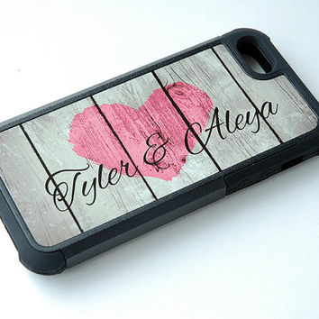 Personalized Rustic Wood Phone Case, Pink Country Heart, Monogram Phone Case, Couple iPhone 6 Case, 6+ Case, Samsung Galaxy S4, S5
