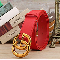 GUCCI Belt Woman Men Fashion Smooth Buckle Belt With Gift Box Girl Belt Bronw