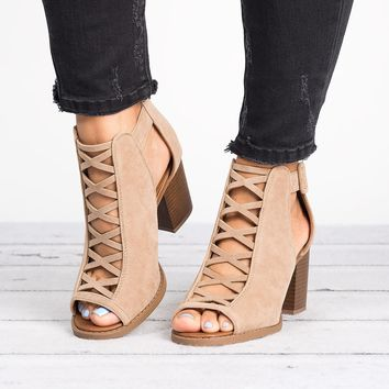 Aran Cut-Out Taupe Booties