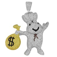 Pillsbury With Money Bag  Pendant White Gold Finish